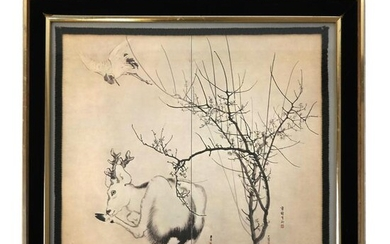 Chinese Ink Painting on Paper of a Deer