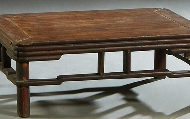 Chinese Low Carved Elm Kang Table, late 19th c., the