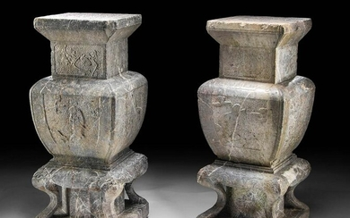 Chinese Ming Dynasty Stone Pedestals w/ Dragons