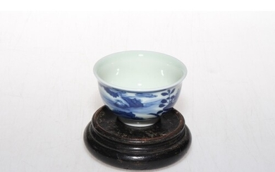 Chinese blue and white tea bowl with six character mark, 7.5...