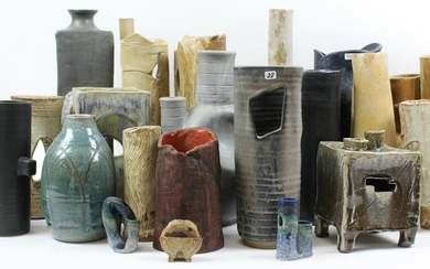 Collection of 21 pcs. MCM Studio Pottery Vessels