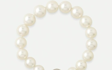 Cultured pearl, diamond, and white gold bracelet