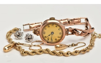 FIVE ITEMS OF JEWELLERY, to include a 1920's gold wrist watc...