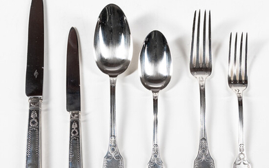 French Empire Pattern Sterling Silver Flatware Set