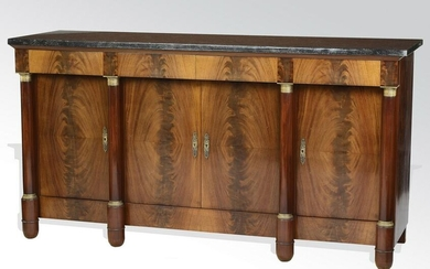 French Empire style flame mahogany marble top buffet