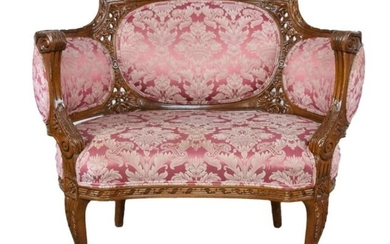 French Louis XV Carved Walnut Bergere Settee