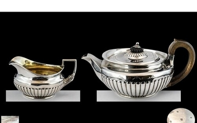 George III - Superb Quality Sterling Silver Teapot and Match...