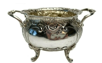 German .812 Silver Repousse Footed Open Sugar Bowl