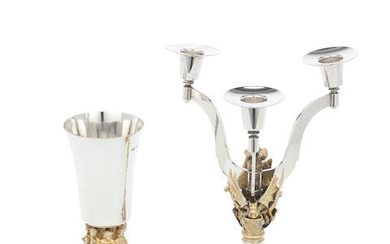 HECTOR MILLER FOR AURUM: A silver and silver-gilt commemorative candelabrum and goblet
