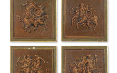Italian School (18th/19th Century): A set of four decorative 'en grisaille' panels depicting classical mythological groups of centaurs