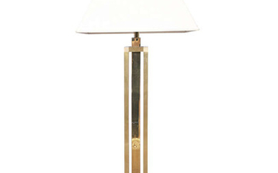 LAMP A large brass floor lamp, Italy, c.1980....