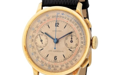Longines. Very Early and Rare Flyback Chronograph Wristwatch in Yellow Gold, Reference 3770, With Multi-Scale Dial, Original Box, Extract From Archives and Published in the LONGINES LEGENDARY WATCHES Book