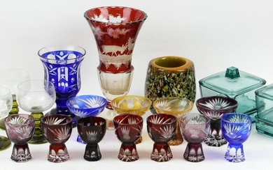 Lot of Assorted Colored Art Glass