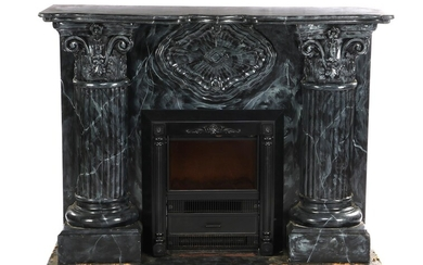 (-), Marble decor painted wooden decorative fireplace with...