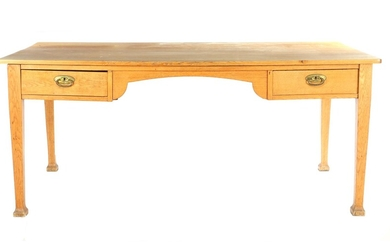 (-), Solid oak desk table with 2 drawers,...