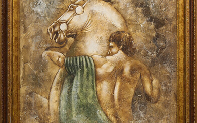 Mixed Media, Classical Figure with Horse
