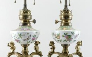 PAIR OF BRONZE-MOUNTED CHINESE EXPORT PORCELAIN VASES