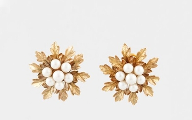 PAIR OF CULTURED PEARL AND GOLD EARRINGS