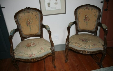 Pair of Diminutive Antique French Carved Armchairs