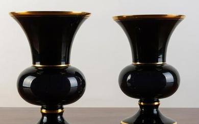 Pair of Gilt Decorated Deep Amethyst Glass Vases
