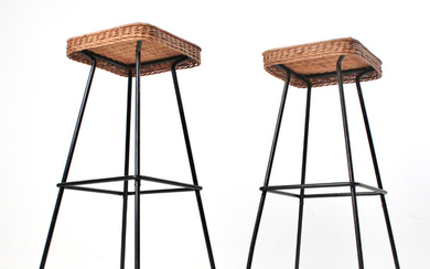Pair of bar stools from the 1950s / 60s by Müller Boulevard Möbel, Munich.