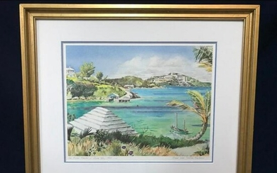 Signed Limited Lithograph, View Over Castle Harbour
