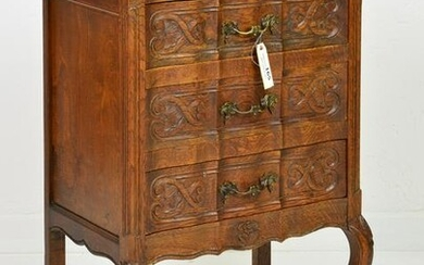 Small Country French Carved 3 Drawer Chest