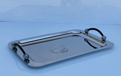Stainless Steel & Leather Serving Tray by Waterford