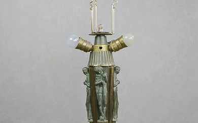 TABLE LAMP, bronzed metal, probably redesigned ceiling lamp, early 20th century.