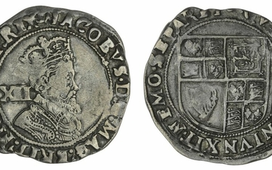 James I (1603-1625), Shillings (2), Second Coinage, 1604-1605, third bust, m.m. lis; another, 1607-1609, fifth bust, m.m. coronet; additionally, Charles I, Group D, Shilling, 1636-1638, Type 3a, m.m. tun