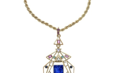 Torchon necklace and pendant in yellow gold, lapis lazuli, pink tourmaline, diamonds and moonstone