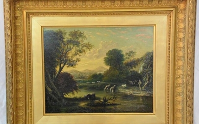 Victorian 19th Century Oil Painting on Board 'Cattle Watering'....