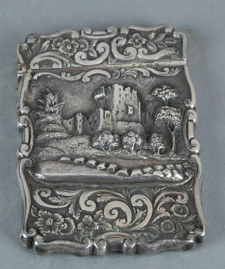 Victorian high relief sterling card case.