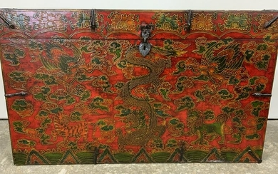 Vintage Wooden Hand Painted Asian Trunk