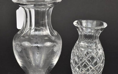 Waterford Vase and Lovely Vintage Etched Heavy Crystal