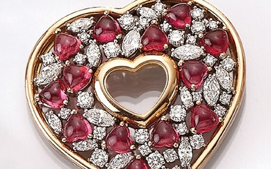 18 kt gold CHOPARD heartpendant with diamonds and...