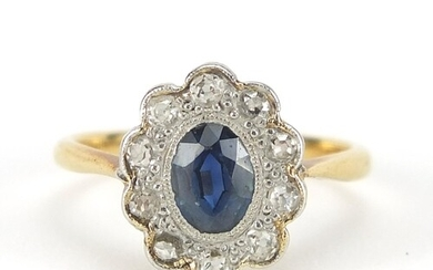 18ct gold and platinum sapphire and diamond ring, size I, 2....