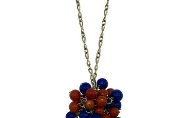 1970's Yellow Gold Chain with Lapis and Coral Bead
