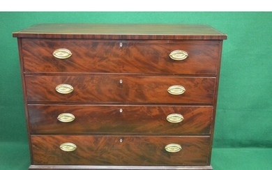 19th century mahogany cross banded secretaire chest the top ...