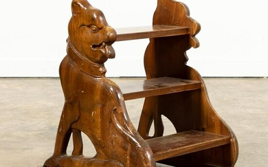 20TH C. ENGLISH CARVED WOODEN CANINE LIBRARY STEPS