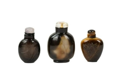 (3) Chinese Snuff Bottles - Glass and Brown Agate