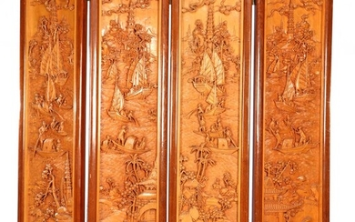 (-), 4-turn rosewood folding screen with rich decor...