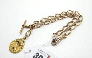 A 9ct Rose Gold Curb Link Double Albert Chain, to double swi...