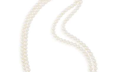 A CULTURED PEARL AND GEM-SET NECKLACE The two...