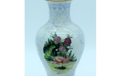 A Chinese 20th Century Vase decorated with a Rabbit and flow...