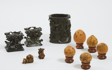 A Chinese Carved Hardwood Brushpot, Together with Five