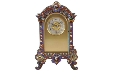A FRENCH CHAMPLEVE ENAMEL AND BRASS MANTEL CLOCK, 20TH CENTURY