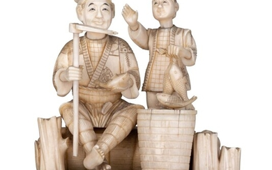 A Japanese late Meiji or early Taishô-period ivory group, H 13,3 cm - weight c. 595 g.