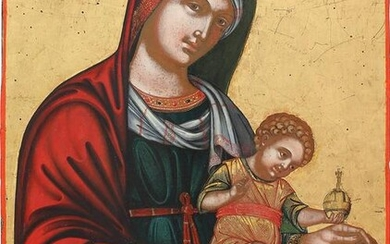 A LARGE ICON SHOWING THE MOTHER OF GOD WITH CHRIST AND