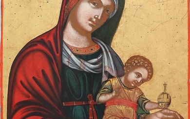 A LARGE ICON SHOWING THE MOTHER OF GOD WITH CHRIST...